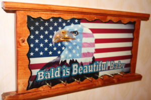 American Eagle Flag Bald is Beautiful Baby Key Holder Wood Sign
