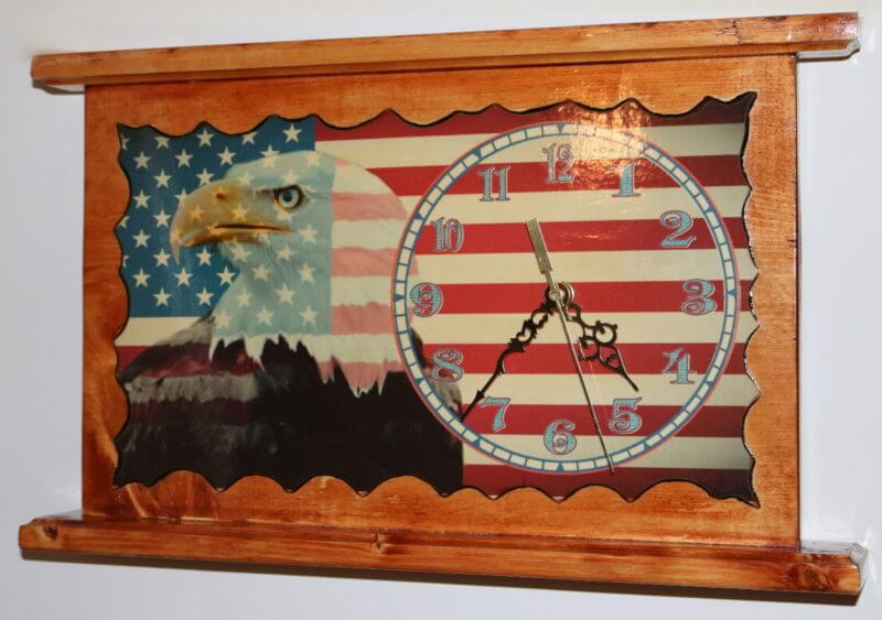 American Eagle U.S. Flag Wall or Mantel Clock