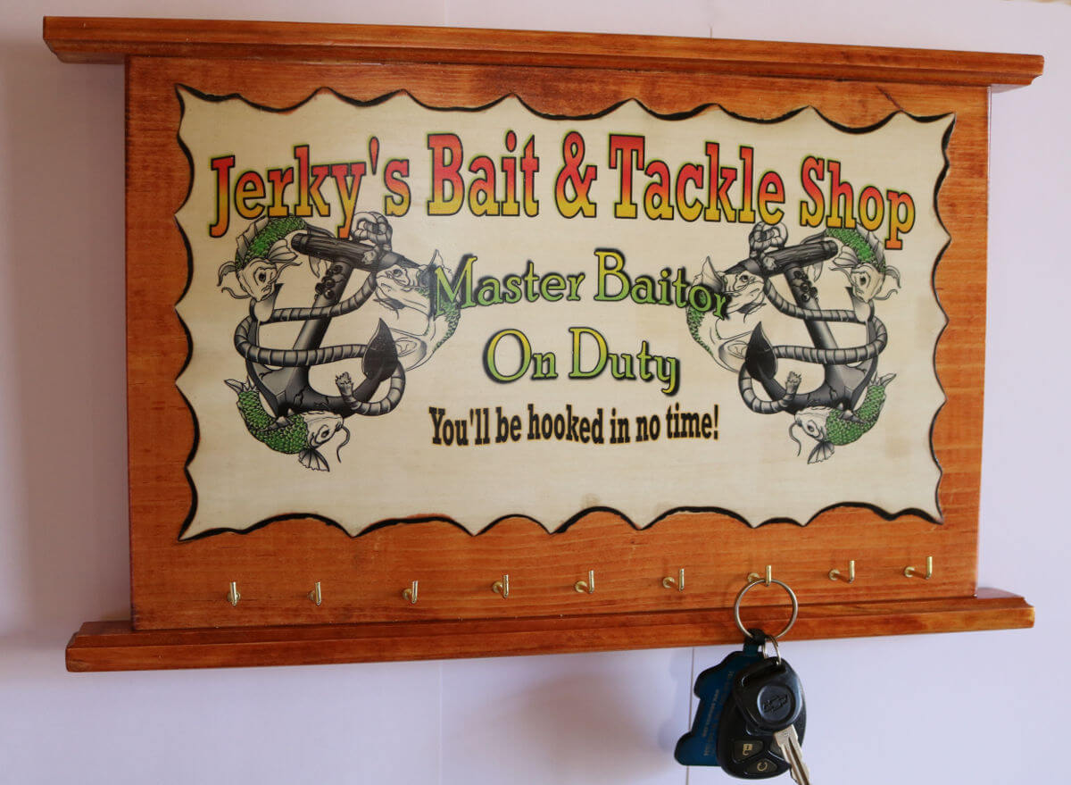 Jerkys Bait and tackle shop fishing sign