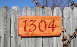 House Street Address Numbers Engraved Wood Sign