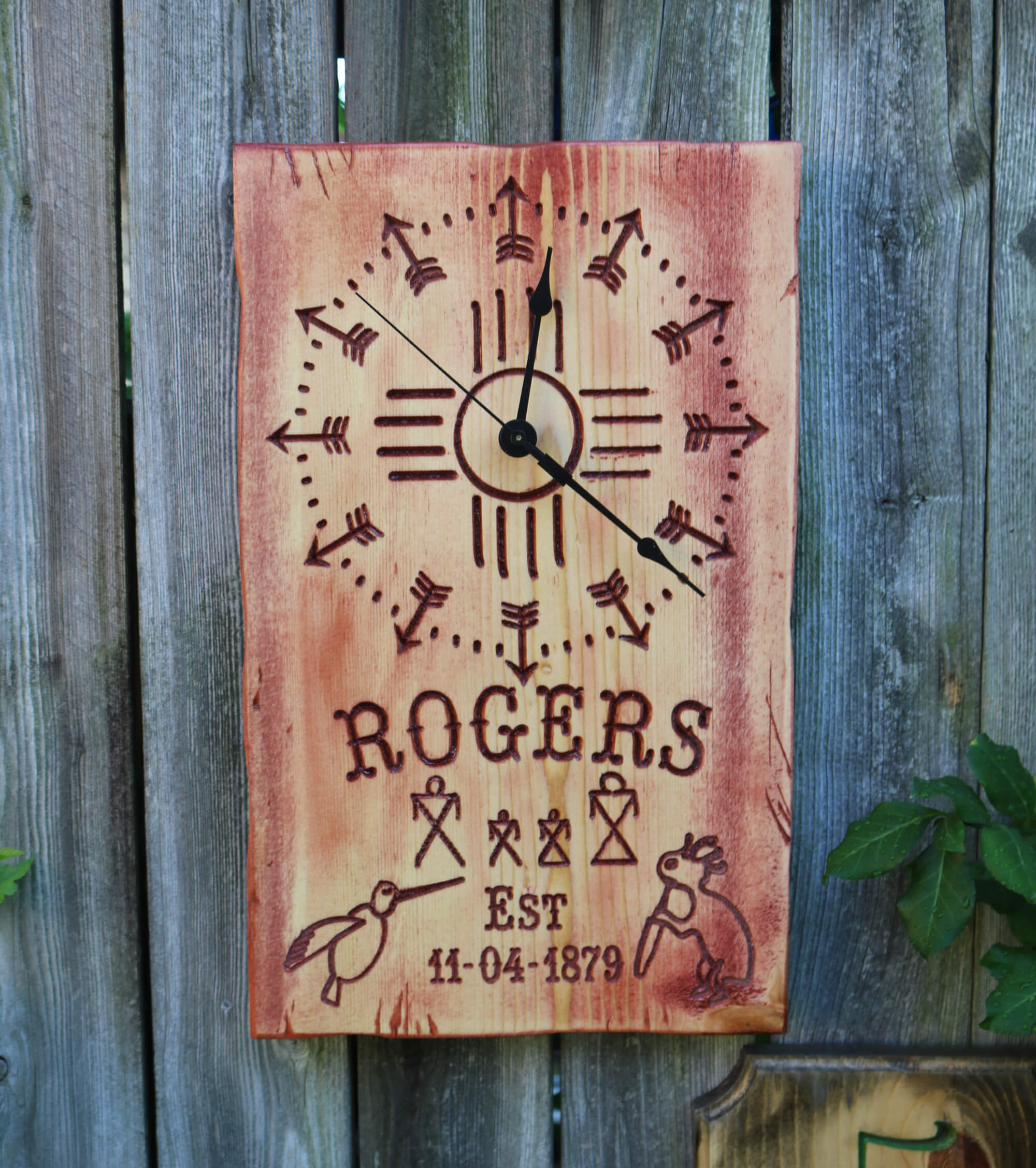 Native American Southwestern Style Family Name Western Arrow Clock with Old Native American Indian Symbols