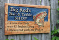 Big Rod's Fishing Bait & Tackle Shop Camper RV Key Chain or Fishing Fly Holder Sign or Plaque