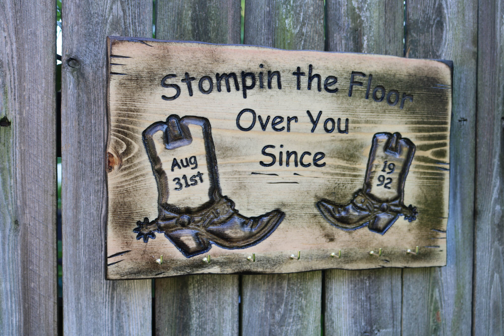 Rustic Old Two Stepping Cowboy Boots 3D Carved Wood Plaque Personalized Anniversary or Birthday Gift.