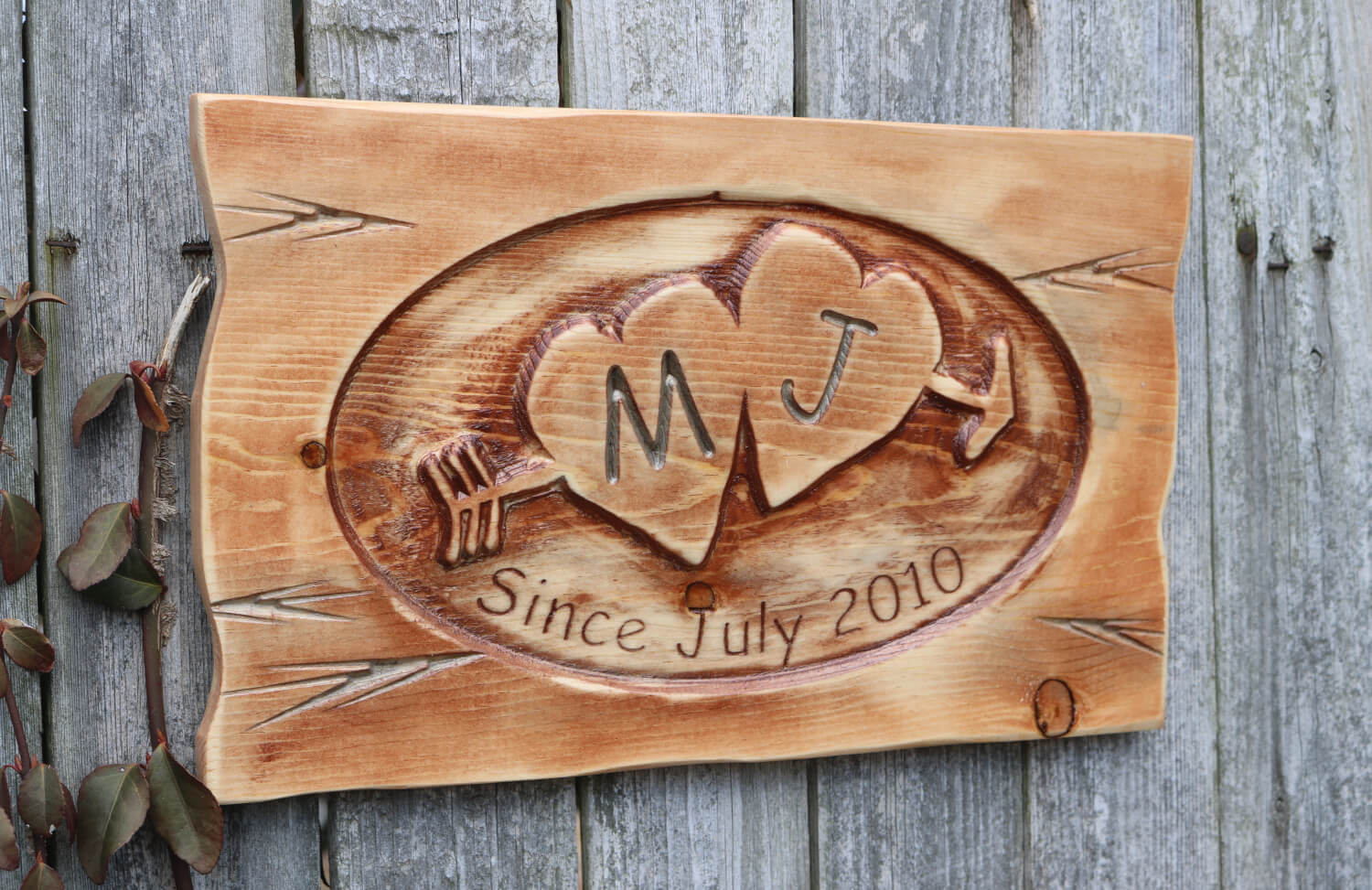Carved Sweet Hearts with Initials Plaque with Established Date