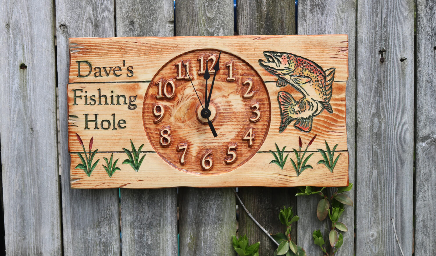 Trout Fishing Hole Personalized Wall Wood Clock with Your Name
