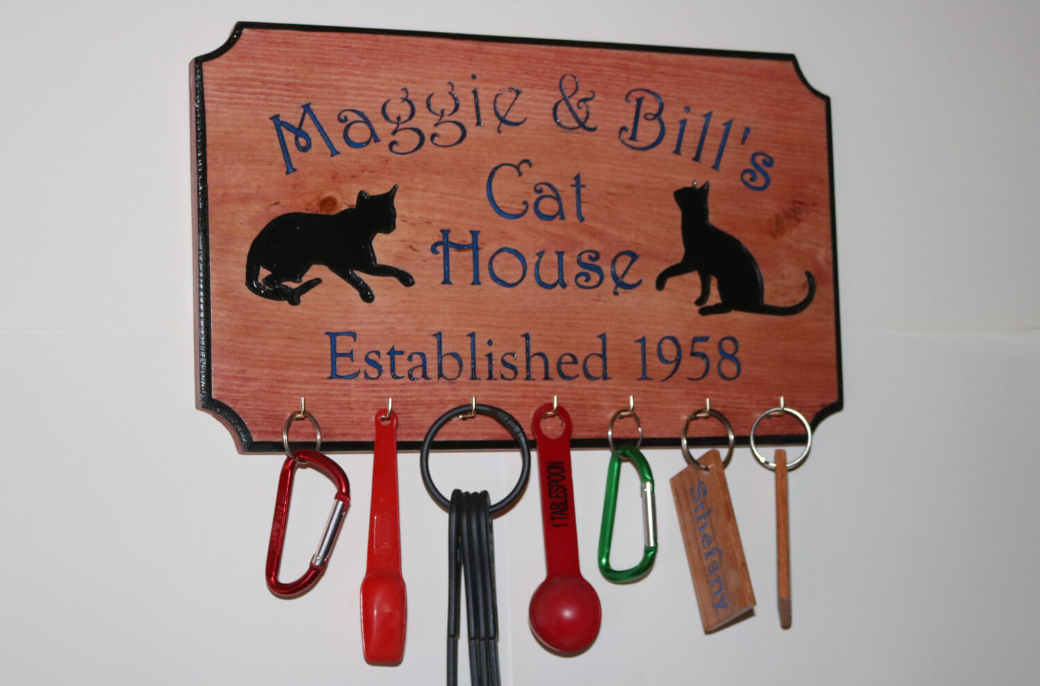 Custom Cat House Personalized with Established Date Key Chain Holder or Kitchen Utensil Holder