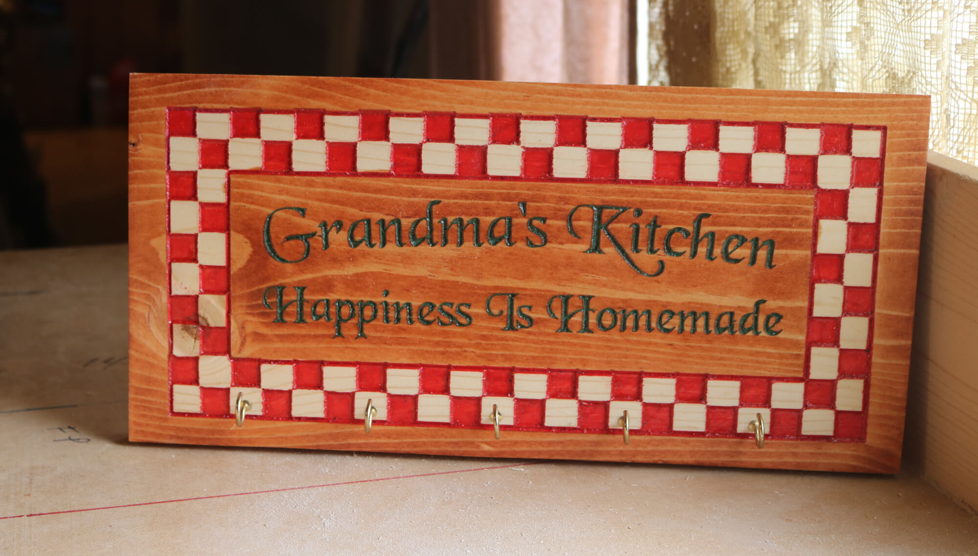 Grandma's Kitchen or Mom's Diner Checkered Kitchen Utensil Holder Retro Wall Plaque Happiness is Homemade