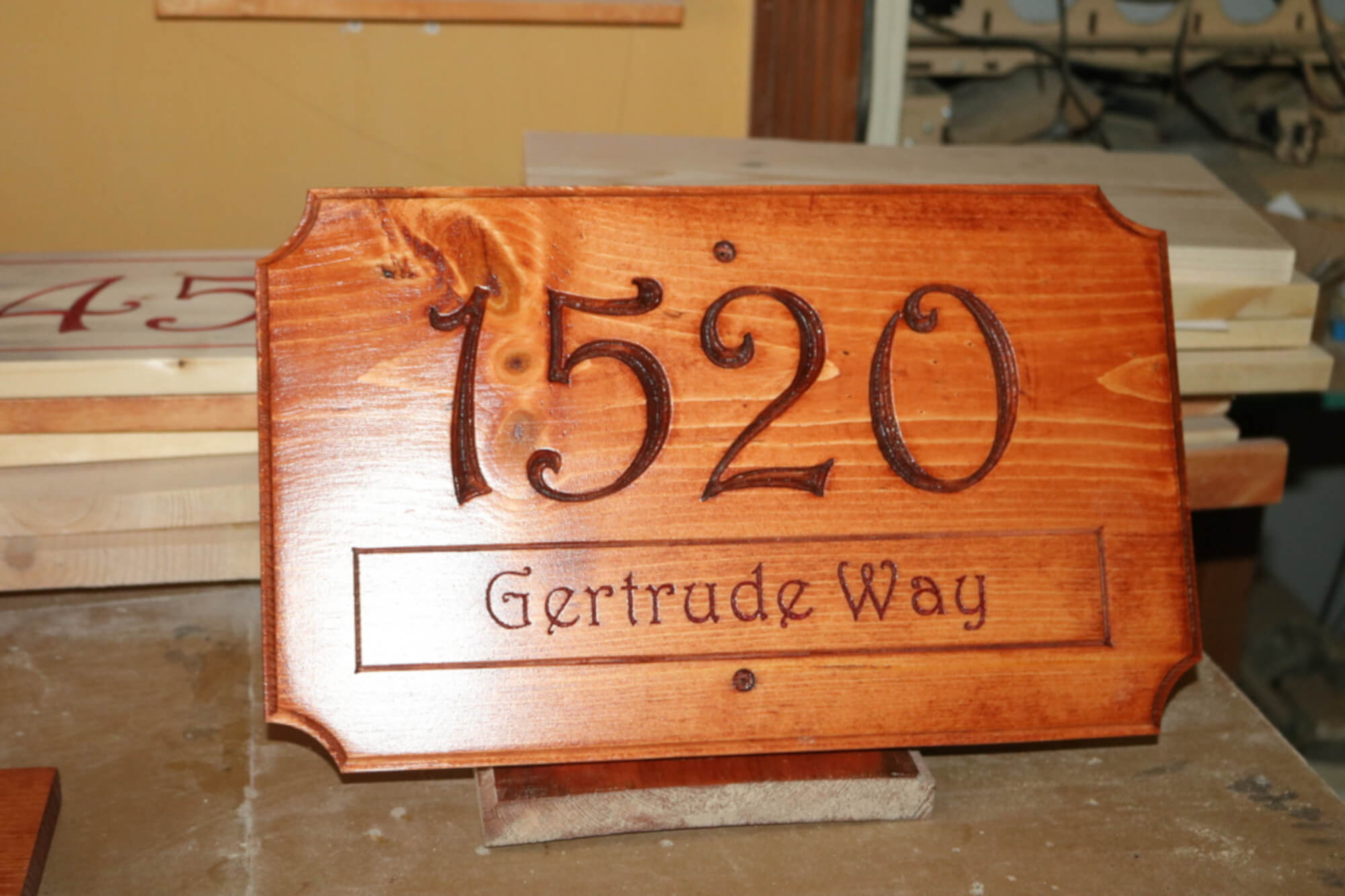 House Street Address Plaque with Street Name Numbers Engraved Wood Sign