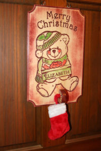 teddy bear stocking holder