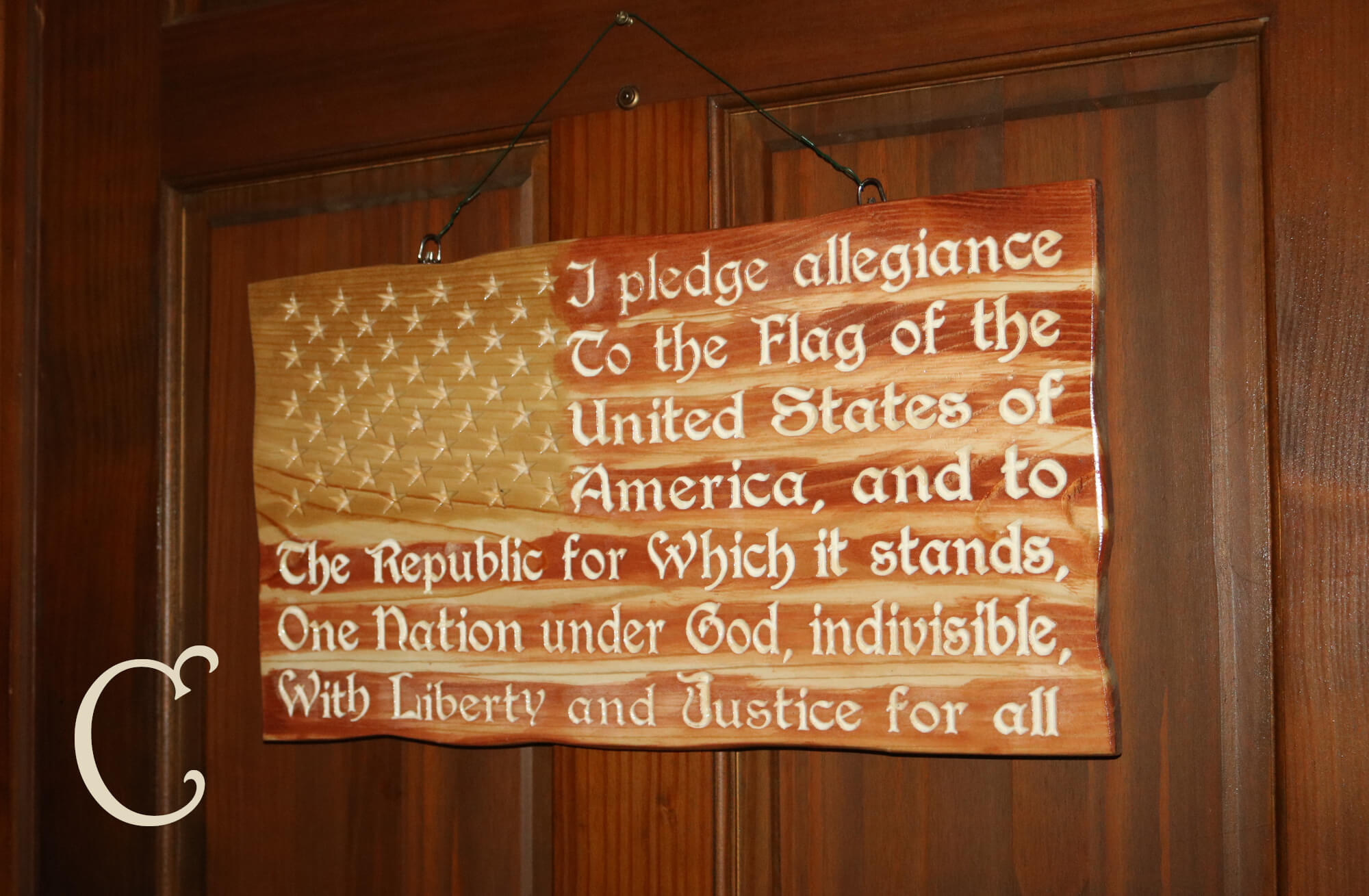 """Old Glory American Flag - Solid Wood 22 Inch X 11"""" Flag, Carved with the USA Pledge of Allegiance"""